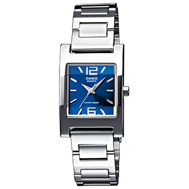 Casio Uhr LTP-1283PD-2A2 Damen Armbanduhr Edelstahl Silber Blau Watch NEU & OVP