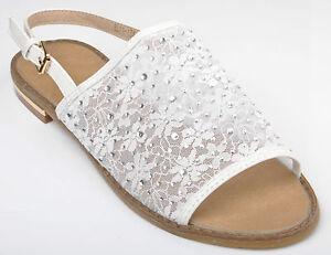 Image is loading White-Lace-Diamante-Wedding-Bridal-Sandals-Flat-Pumps- 5f3cb71e3