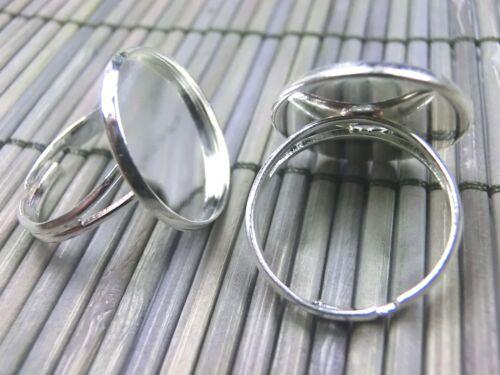 10 bronces para 18mm cabuchons anillos materiales ajustable color plata #s525