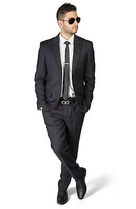Slim Fit 2 Button Peak Lapel Black BeeHive Dapper Design Suit No Pleat AZAR 1706