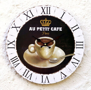 Wanduhr-Kuechenuhr-Design-mediterran-Kaffeeuhr-Tasse-Quarz-Paris-Vintage-Shabby