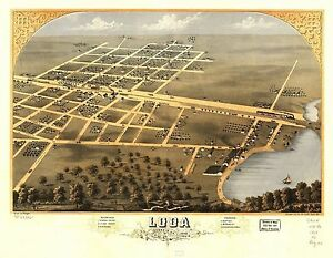 1869 LODA panoramic Iroquois County ILLINOIS map GENEALOGY atlas poster IL 33