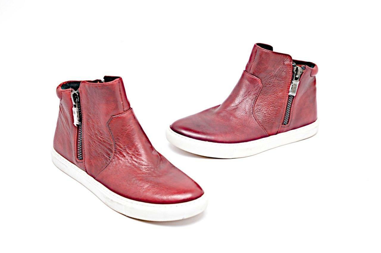 Kenneth Cole Cuero Rojo Profundo envejecido Interior + Exterior Con Cremallera Tobillo botas Tamaño 8 M
