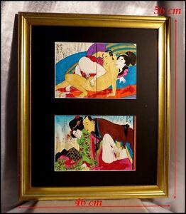 Estampes-Peintures-Japonaises-en-Couleur-Couple-Faisant-l-039-Amour-Encre-Aquarelle