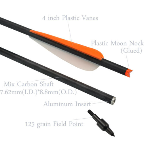 16-22 inch Crossbow Bolts Mixed Carbon Arrows for Archery Target Hunting Outdoor