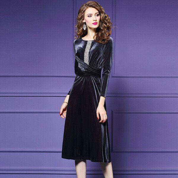 Vestito mini abito vellutto morbido grigio evento    elegante manica  3448 d44f36