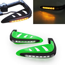 "Green Motorcycle 7/8"" Handlebar Bush Bar Handguard LED Turn Signal Light ATV"