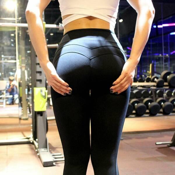 Frauen Leggings Sport Yoga Fitness Leggins Jogginghose Lang Scrunch Hose Damen S