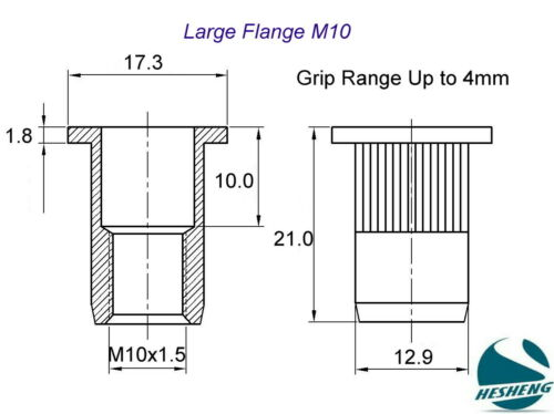 M4 M5 M6 M8 M10 Large Flange Zinc Plated Steel Nutsert Rivnut Nutserts Riv Nut