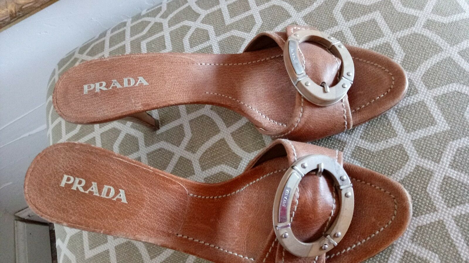 Auth  Prada Leather mule high heel heel heel slides logo top  sz37.5 5c4a76