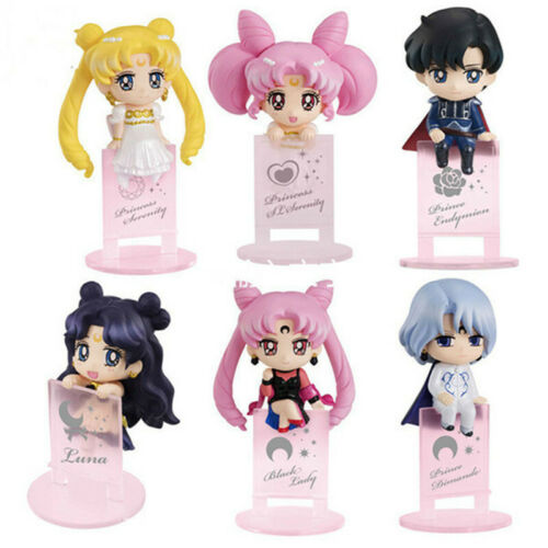 6pcs Set Sailor Moon Tsukino Usagi Black Lady Quality Anime PVC Figures Figurine