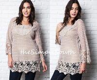 Umgee Blush Semi Sheer Lace Crochet Open Knit Long Shift Tunic Top Blouse Xl
