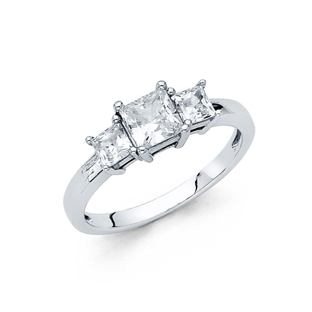 1.25 CT Princess 3 Stone Diamond Engagement Wedding Ring 14k Solid White gold