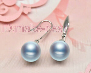 GENUINE 9.2mm AAA+ Gray South Sea Pearls Dangle Earring Solid White Gold