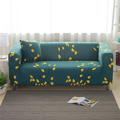 Spandex Slipcovers Sofa Cover Protector for 1 2 3 4 seater LauR Floral Leaves qy