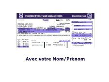 LOST Billet d'avion Oceanic vol 815 + votre nom Lot personalised airline ticket