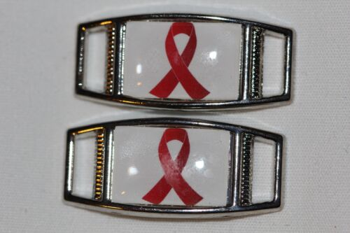 Red Awareness Ribbon rectangle shoelace charm pair shoes//paracord 2