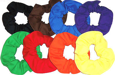 8 Hair Scrunchies by Sherry Red Blue Green Yellow Orange Purple Brown Black