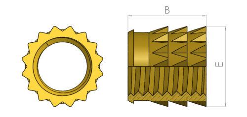 Inserti in ottone filettato per solido in Plastica Premere adatta METRICA SPINATO M2 M3 M4 M5 M6