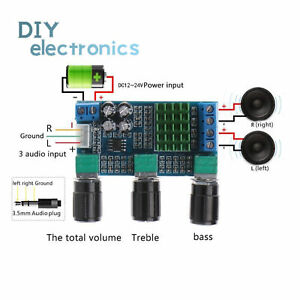 DC12-24V-Dual-Channel-Digital-TPA3116D2-80Wx2-Treble-Bass-Amplifier-US