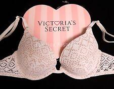 36D VICTORIA'S SECRET Sexy Tee Dramatic Lift Push-Up Bra 8925 White Crochet
