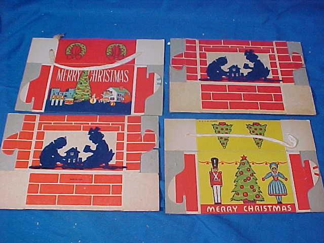 4 Unused 1930s CHRISTMAS Carboard CANDY BOXES