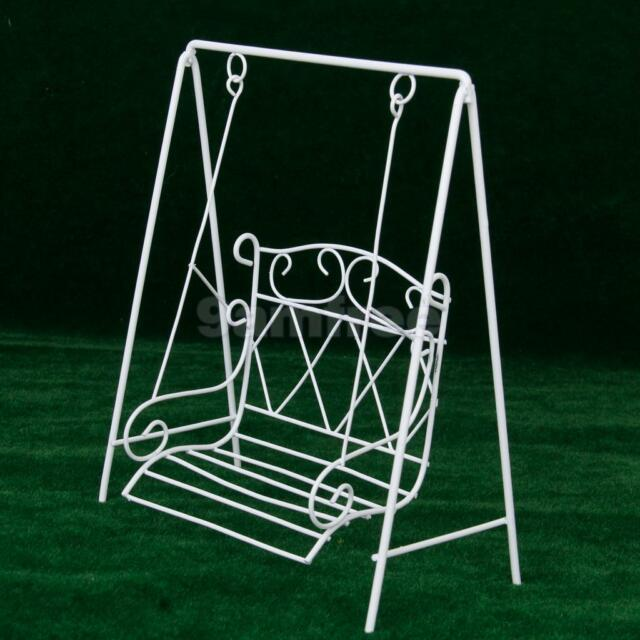 Doll House Miniature White Wire Outdoor Yard Patio Garden Bench Swing 12th Scale