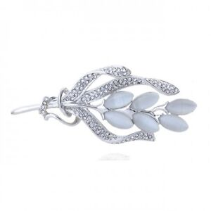 STUNNING-18K-WHITE-GOLD-PLATED-AND-GENUINE-AUSTRIAN-CRYSTAL-amp-CAT-EYE-BROOCH