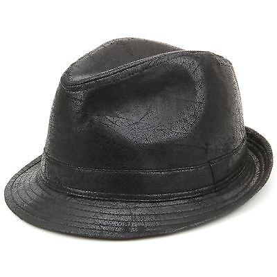 Hawkins Unisex Porkpie trilby hat black cracked leather worn vintage look NEW