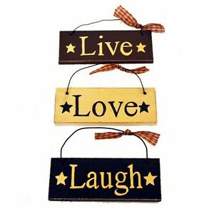 Set Of 3 Country Hanging Signs Live Laugh Love Home Decor