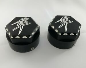 Hayabusa Black/Silver Engraved Ball Cut 3D Hex Fork Covers Caps!! 99,04,05,06,07