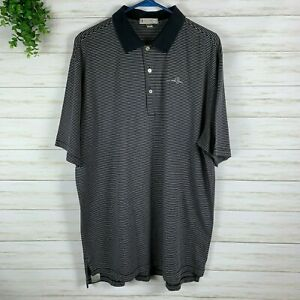 Men's Clothing Men's Peter Millar Collared Polo Shirt Sz Xl Navy Gray Stripe Bracing Up The Whole System And Strengthening It