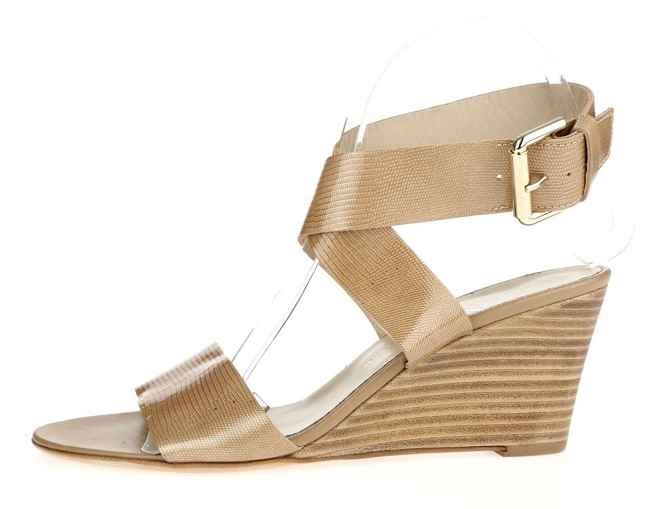 femmes AGL 226603 beige   tan leather ankle wrap wedge sandals sz. 40