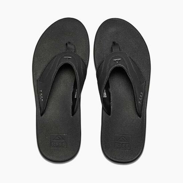48195b787f26 Reef Mens Fanning Flip Flops All Black UK 9 R2026alb Uk9