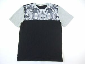 UNIVIBE GRAY BLACK LARGE MESH TRIM STARS ART TSHIRT MENS NWT NEW