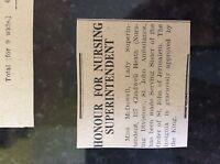 M3-9b ephemera 1941 dagenham ww2 war news nurse miss mcdowell order of st john