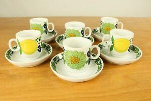 6-Tassen-amp-Untertassen-Thomas-Scandic-Nizza-Porzellan-Service-Zitrone
