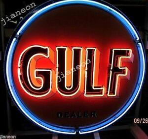 24-034-X24-034-Old-Gulf-Dealer-Gas-amp-Oil-NEON-SIGN-BEER-LIGHT-Lighted-Backing