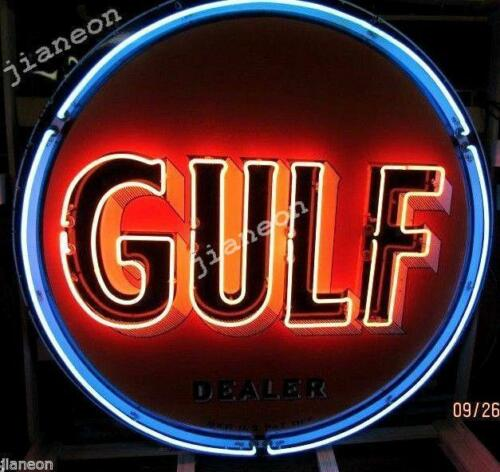 """24/""""X24/"""" Old Gulf Dealer Gas /& Oil NEON SIGN BEER LIGHT Lighted Backing"""