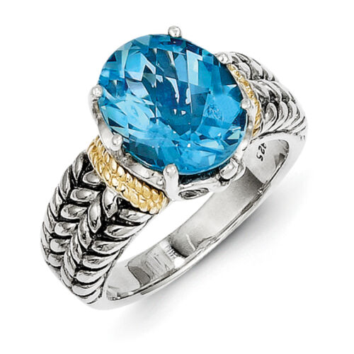 Swiss Blue Topaz Ring .925 Sterling Silver /& 14K Gold Accent Sz 6-8 Shey Couture