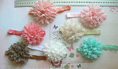 PINK 15 /& 40mm Wide Stretch HEADBAND Textured Lace 6-11cm Flowers 6 Style Choice