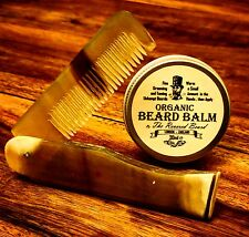 30ml Organic Beard Balm by Revered Beard + Carved Ox Horn Folding Beard Comb