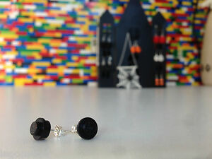 Pair-Handmade-MonkiStuff-Black-Stud-Earrings-made-from-LEGO-Bricks-Halloween