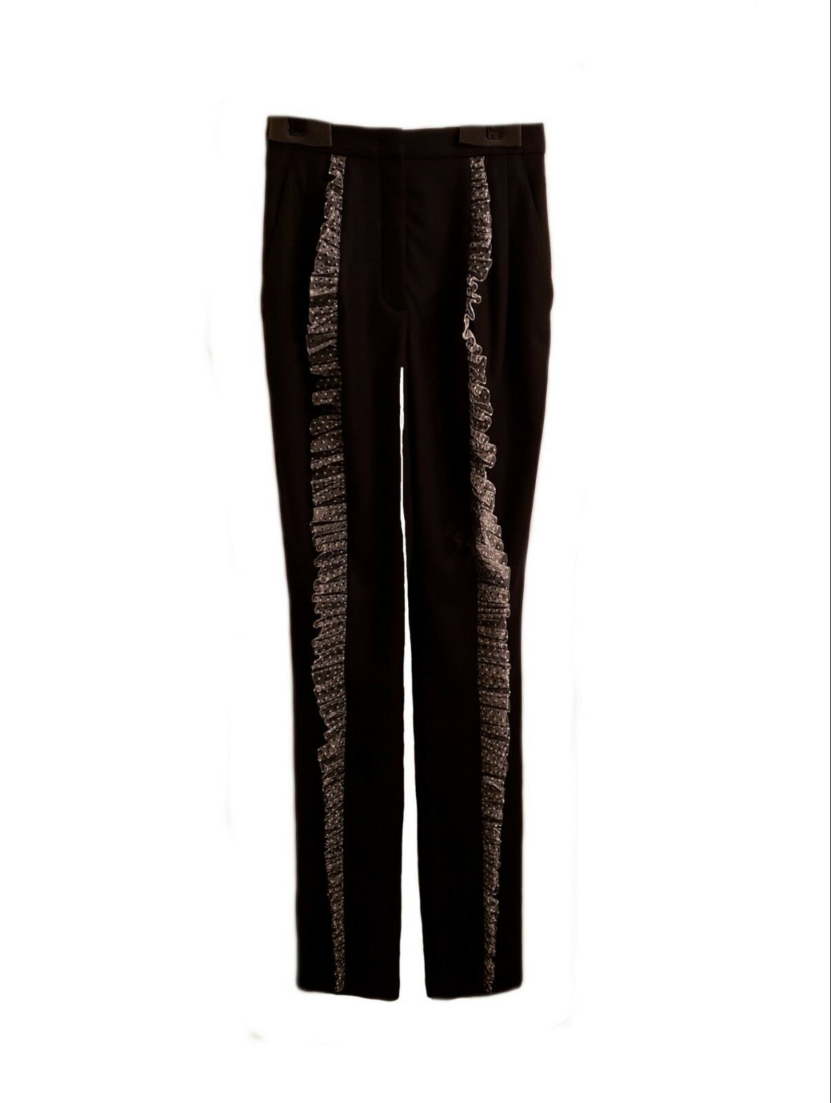 Roberto Cavalli Women's Wool Trousers Pants with Polka Dot Ruffle Tulle Trim