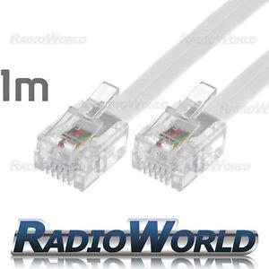 1M Metre RJ11 TO RJ11 Cable Broadband Modem / Internet Lead Long DSL White RJ-11