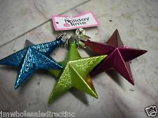 NEW Holiday ! Christmas Decoration Red  3 pk Stars Ornaments