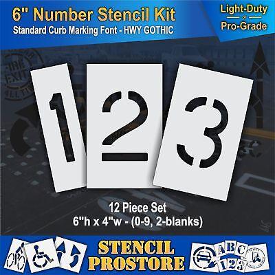 """12 Piece Pavement Stencils 10 inch NUMBER KIT STENCIL SET - - 10/"""" x 7.5/"""""""