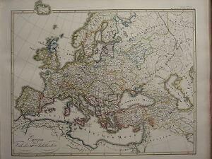 1846 spruner antique historical map europe end of 14th century image is loading 1846 spruner antique historical map europe end of gumiabroncs Gallery