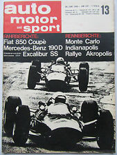 Auto Motor Sport 13/1965, Fiat 850 Coupe, Mercedes Benz 190D, Excalibur SS