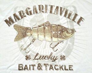 MARGARITAVILLE-Men-039-s-034-Lucky-Bait-amp-Tackle-034-Light-Beige-SS-Graphic-Tee-T-Shirt-XL